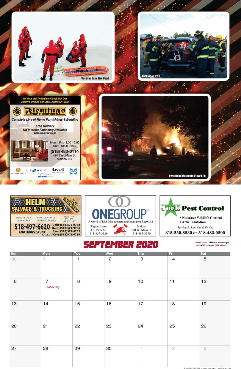 Franklin County Fire Calendar 2020 Sept